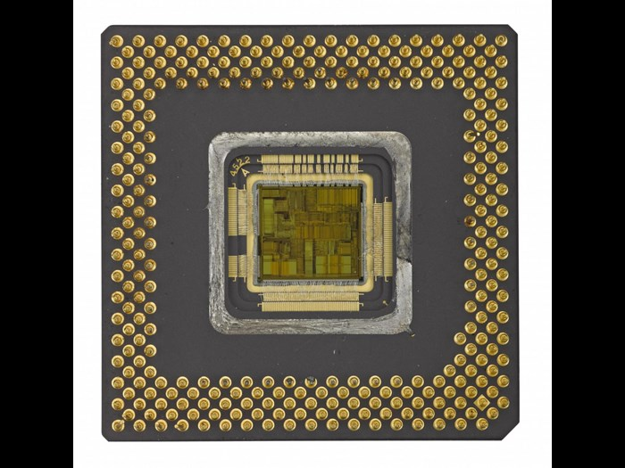 Ceramic is used to make this 1994 Intel Pentium microprocessor, which contains 3,200,000 transistors.
