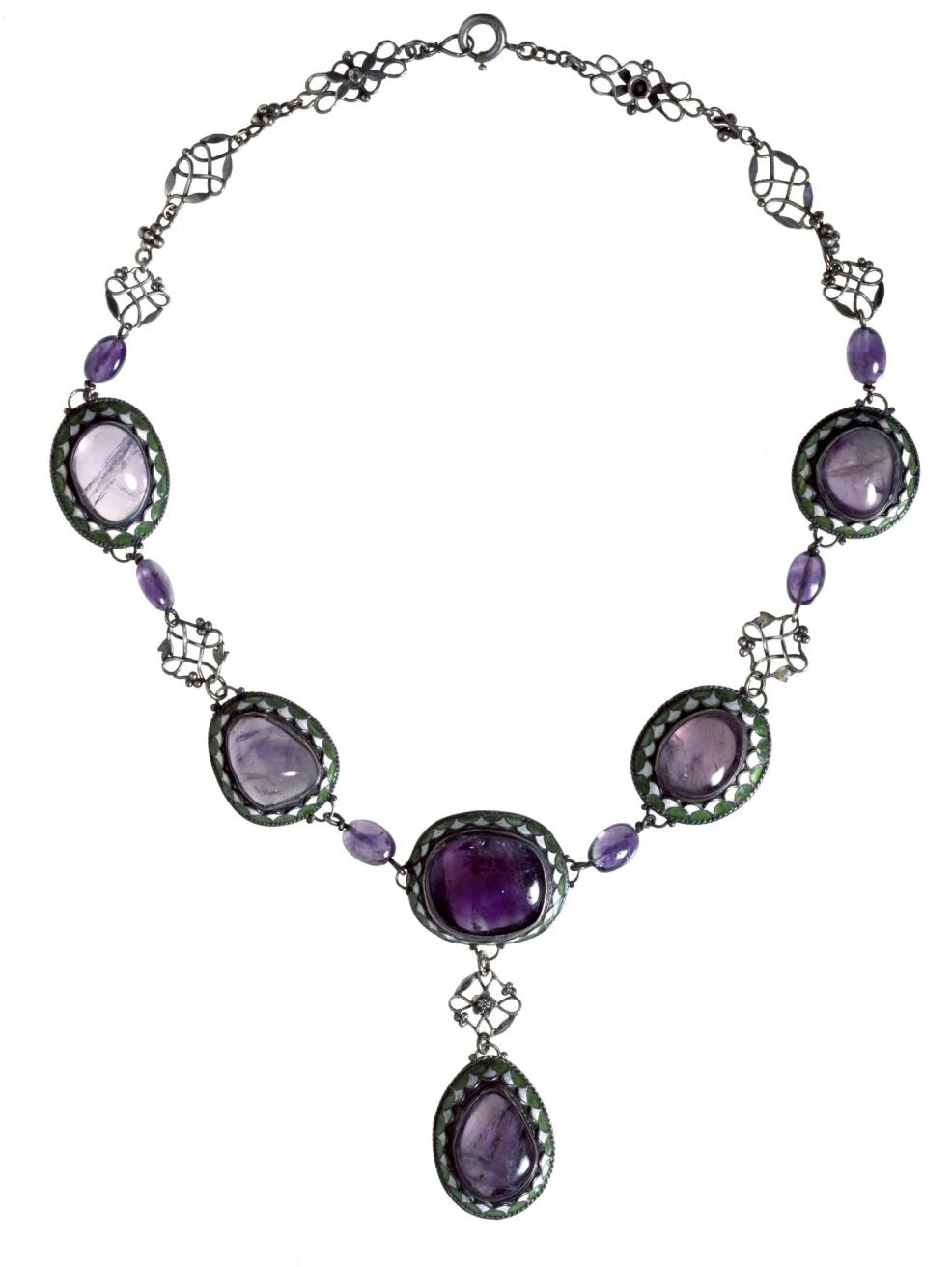 Necklace of silver, amethysts and green and white enamel, the colours of the suffragette movement: English, Birmingham, by Arthur and Georgina Gaskin, c. 1910