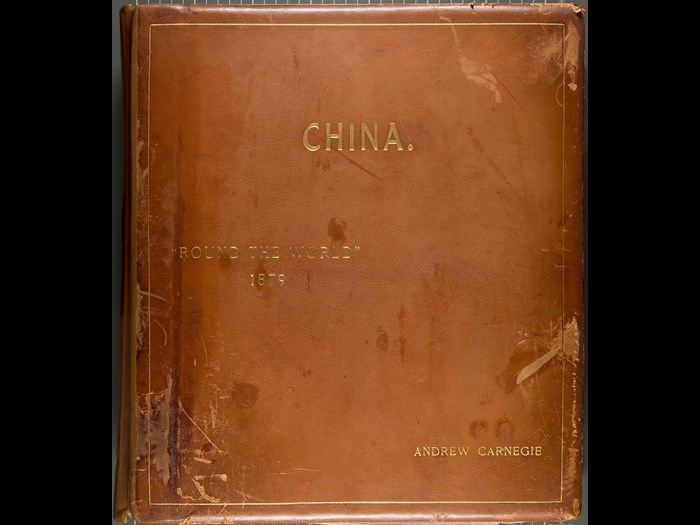 Cover of one of Andrew Carnegie's travel albums. Courtesy of the Andrew Carnegie Birthplace Museum.