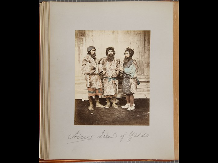 Baron Raimund von Stillfried. [Ainus - Group of Three Men], 1872. Courtesy of the Andrew Carnegie Birthplace Museum.