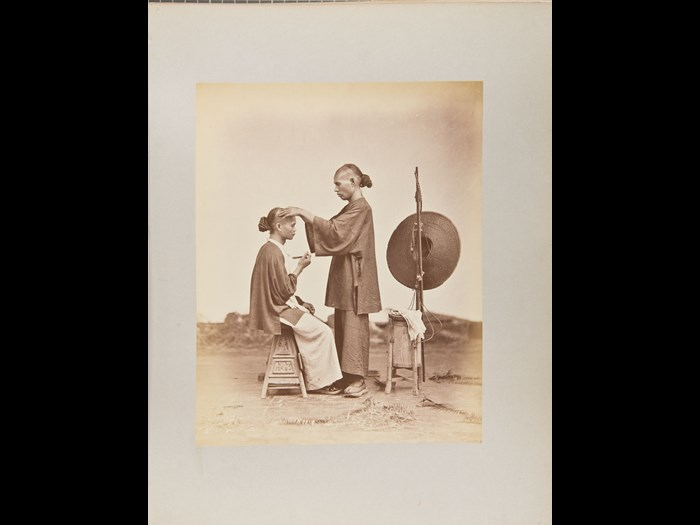 John Thomson or Lai Afong. Itinerant Barber, 1868-1872. Courtesy of the Andrew Carnegie Birthplace Museum.