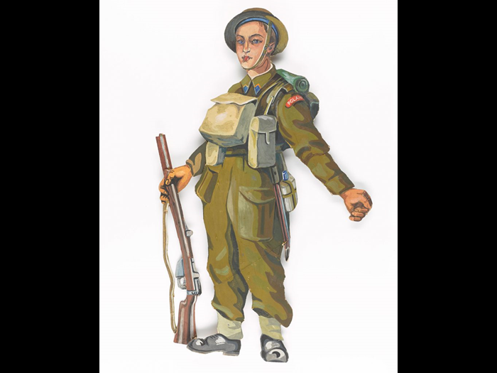 A Polish Soldier in the uniform of the Second World War, from a hand-cut card and hand-painted nativity scene that made in Scotland around 1943 by Polish soldier Stanislaw Przespolewski. NMS M.2016.2.