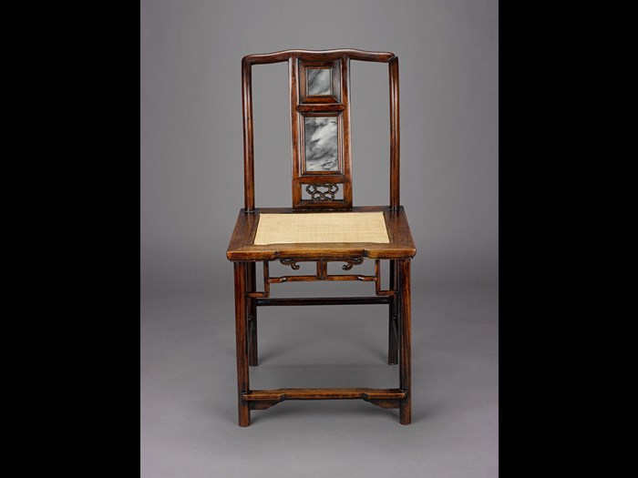 Chair of huanghuali wood, with two inset marble panels on back. China, Qing Dynasty, 19th century. NMS A.1996.99.