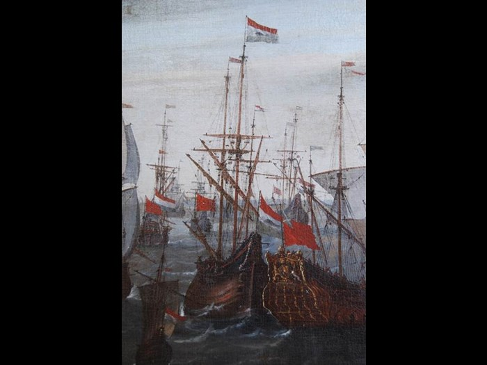 Detail of the painting Ships calling at the port of Veere in 1651 by Philip van Macheren. The detail of this 17the century painting is showing the Ship of war Saint Andrews wearing a Scottish maritime flag next to it a Dutch whaling ship. (Zeeuws Archief, GV150)