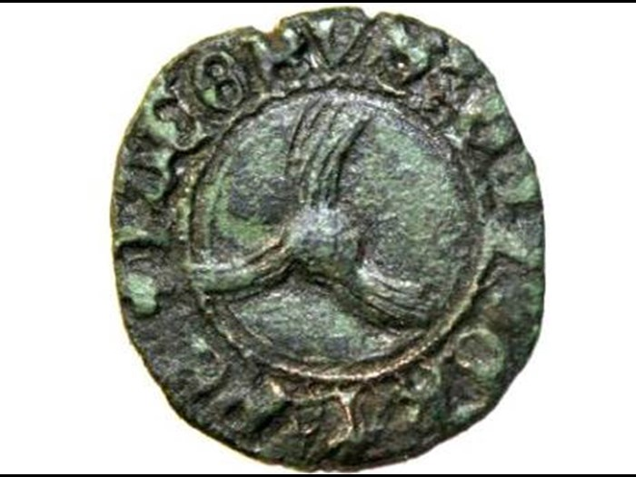 Scots penny minted during the reign of James III (1460-1488) found in Zeeland. Scots pennies from the 15th century are found in most trading places in Zeeland.  (Private collection).