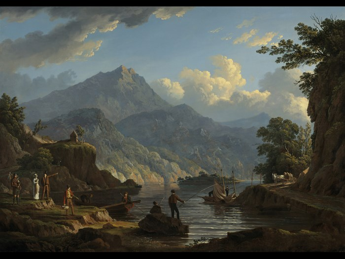 John Knox, 'Landscape with Tourists at Loch Katrin', oil on canvas, 1815 © National Galleries of Scotland.