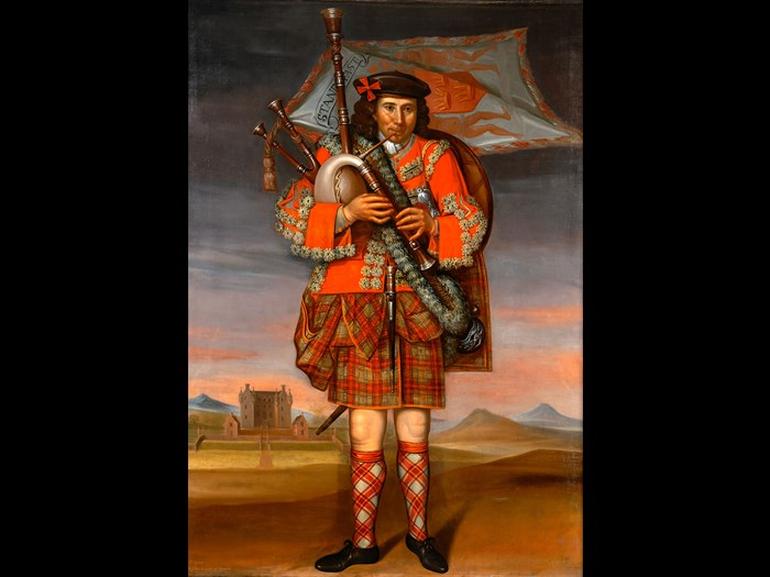 Painting of the Laird of Grant's Piper, William Cumming by Richard Waitt, 1714.