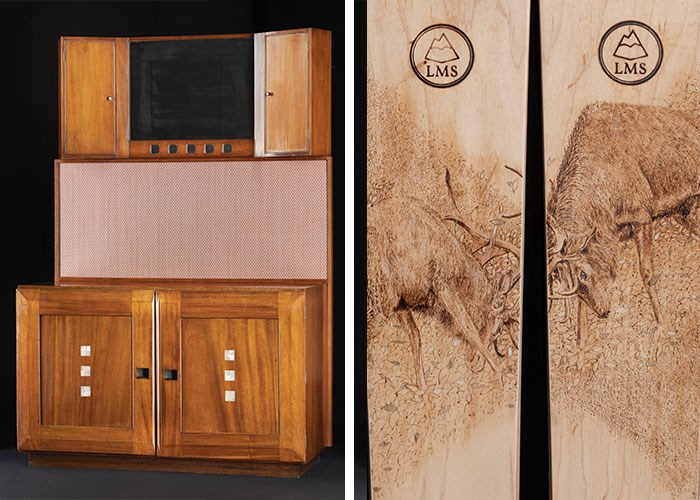 The rare 1917 wash stand by Charles Rennie Mackintosh (left). Wooden Sneachda skis made by Lonely Mountain Skis of Birnam, with pyrography engraving of rutting stags, 2018 (right).