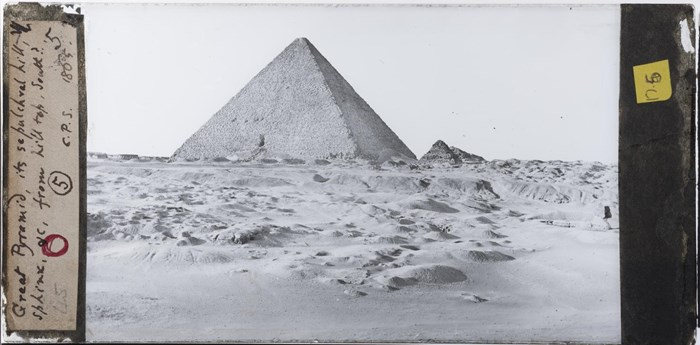 Above: Glass plate photographic negative taken in 1865 by Charles Piazzi Smyth of the 'Great Pyramid, its sepulchral hill, the Sphinx, &c, from hill top, south?' © Royal Observatory Edinburgh CPS Archives.