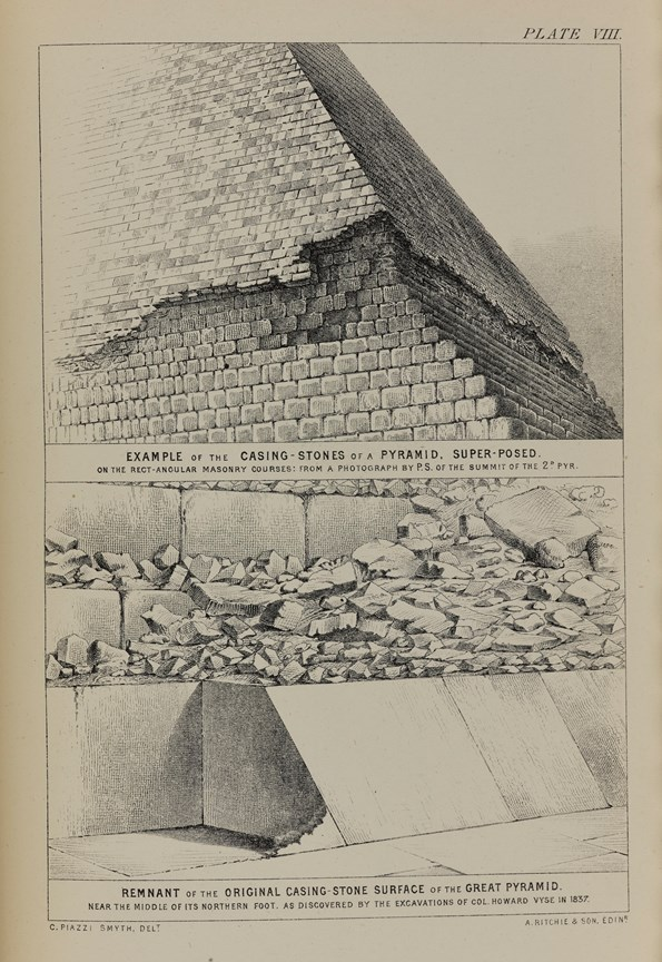 Plate from Charles Piazzi Smyth's publication Our Inheritance in the Great Pyramid showing some of casing stones still in situ at the base.