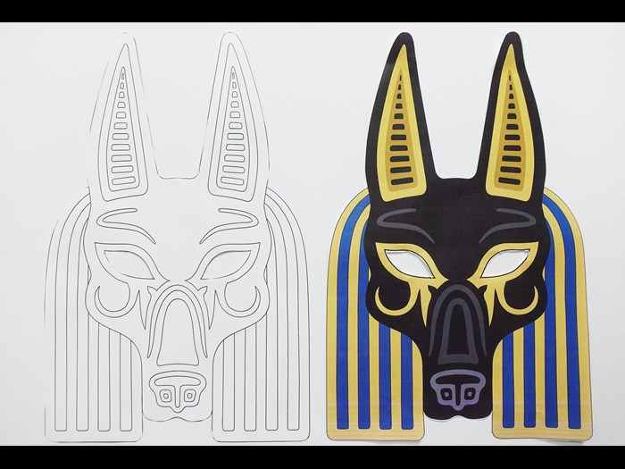 Colour in and keep a jackal mask.  Based on the Egyptian god, Anubis, the god of mummification, jackal masks were sometimes worn by priests when carrying out the mummification process in order to act as a stand in for Anubis.