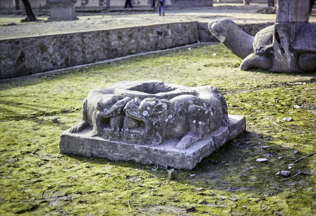 Column base, Southern Dynasties (420-589 AD), Royal Tombs, Tomb of Xiao Xiu, Nanjing, Jiangsu Province, China, 1988.