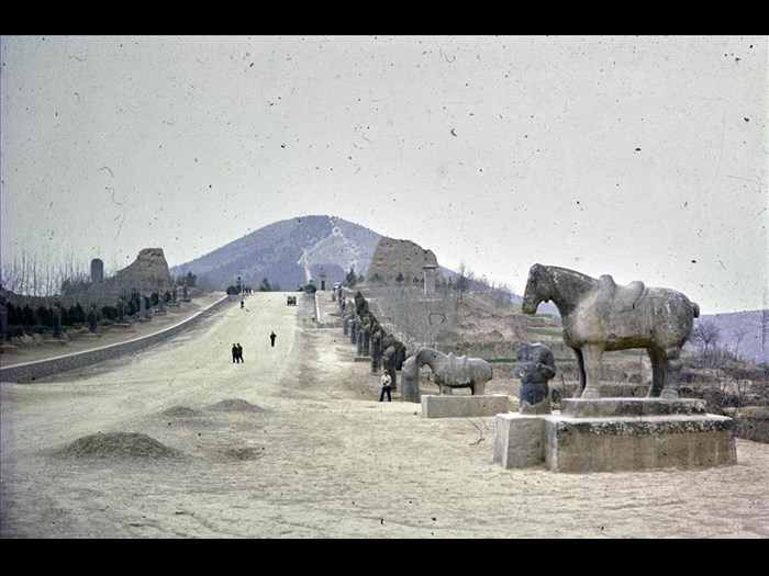 South end of the spirit road with a horse, Qianling, Tang Dynasty (618-907 AD), Qian county, Shaanxi Province, China, 1981.