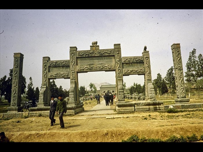 Pailou and stelae, Tomb of Zhu Yiliu, commonly known as Lujianwang, Ming royal and official Tombs, Ming Dynasty (1368-1644 AD), Xinxiang, Henan Province, China, 1986.