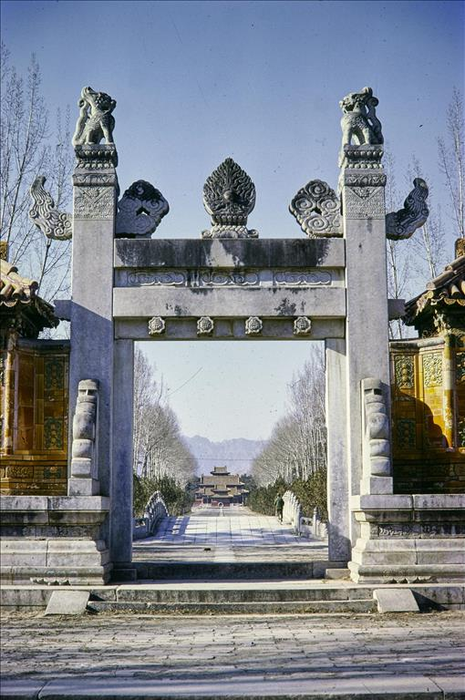 Dragon and phoenix gate at Tailing, Tomb of Yongzheng (d. 1735 AD), Western Tombs, Qing dynasty (1644-1735 AD), Yi county, Hebei Province, China, 1981.