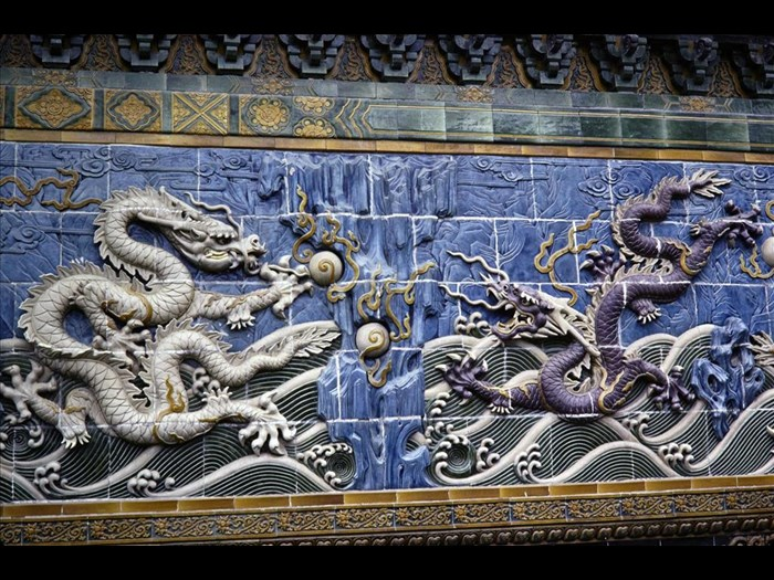 Ceramic relief at Bei Hai near Beijing, China, 1979.