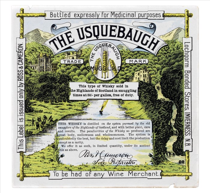 Whisky label featuring an illustration of a Scottish landscape with river and trees