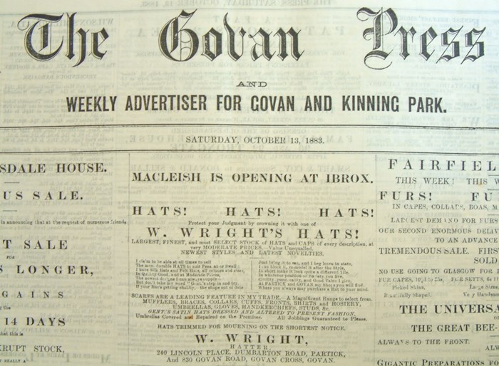 The Govan Press, printed by the Cossar family, October 13, 1883