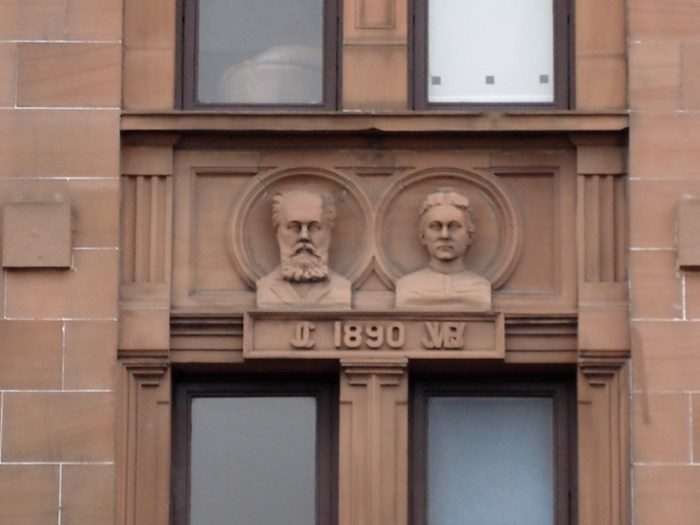 Close up of the busts of busts of John Cossar and Jane White Brown