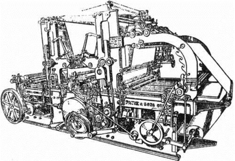 Image of the Cossar press as it appeared in the first edition of The Strathearn Herald printed on it, Saturday 6 July 1907