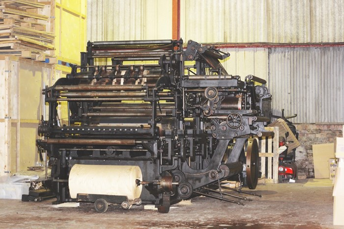 The rebuilt Cossar press in storage in Glasgow, 2012