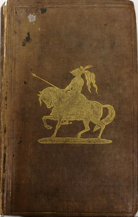 Front cover showing a knight on his horse from Peter Buchan, The Eglinton Tournament and gentleman unmasked (London: Simpkin, Marshall & Co, 1840).