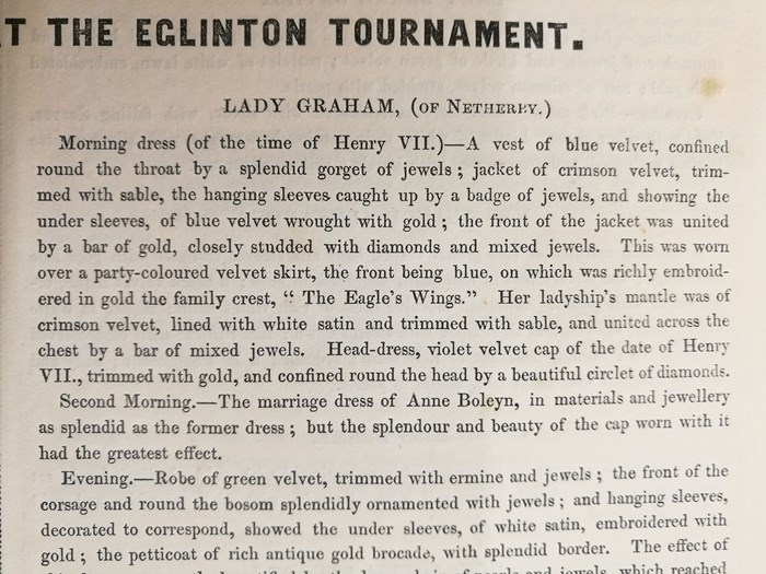 Excerpts from An Account of the Tournament at Eglinton describing the outfits of Lady Graham.