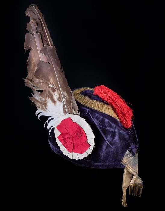 Blue velvet Glengarry bonnet belonging to Ranald George Macdonald, 20th chief of Clanranald. Similar to costumes worn at the Eglinton tournament ball