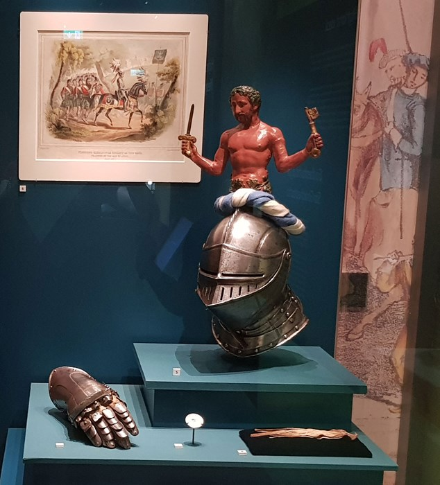The gauntlet and helmet worn by Viscount Glenlyon at the Eglinton tournament