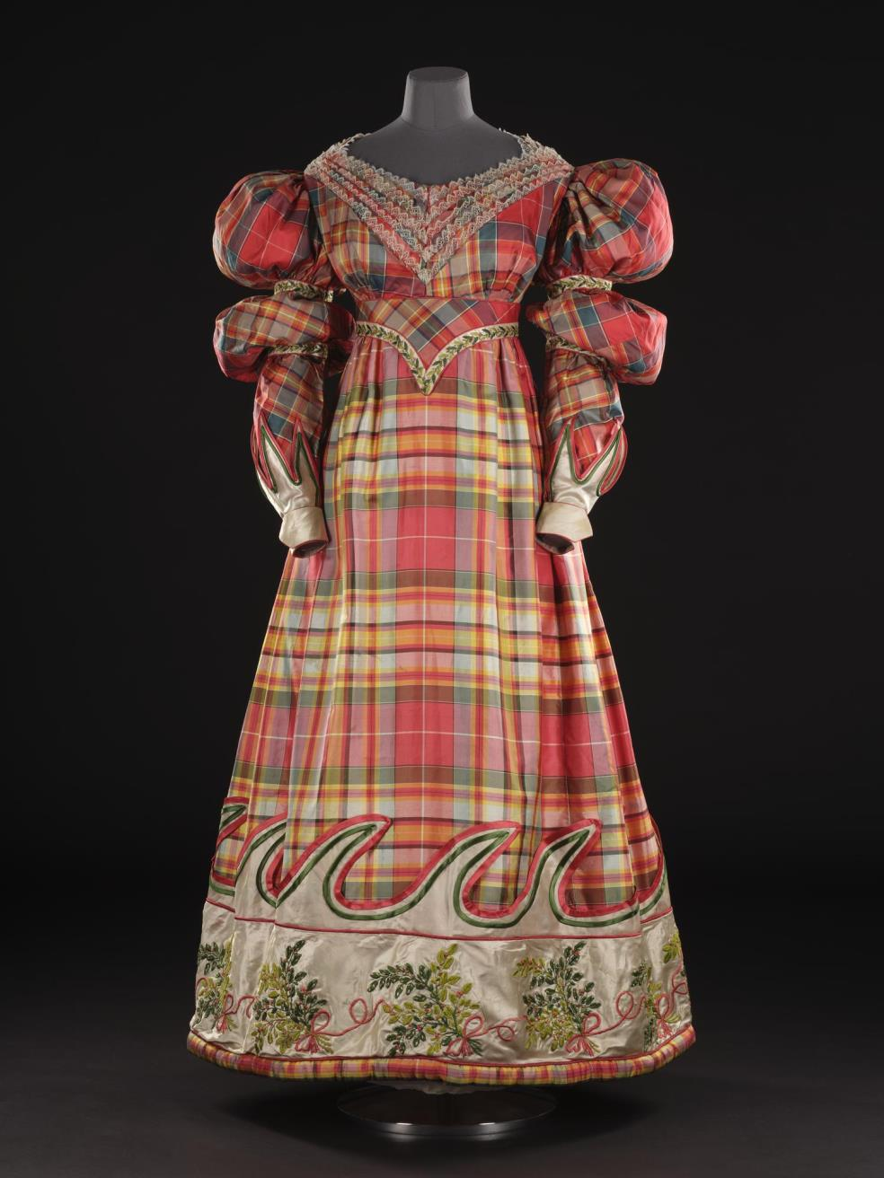 Woman's high-waisted dress of silk, with a lace-trimmed bodice and a band of white satin on the skirt, worn by Mrs Macpherson of Cluny: Scottish, 1832.
