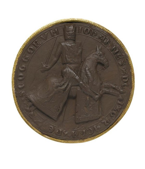 Above: Brown sulphur cast of the reverse of the 1st Great Seal of John I (Balliol) who ruled Scotland between 1292 and 1296 under the authority of Edward I of England, depicting the king as a knight on horseback. Balliol's rejection of English overlordship sparked Edward's invasion of Scotland in 1296.