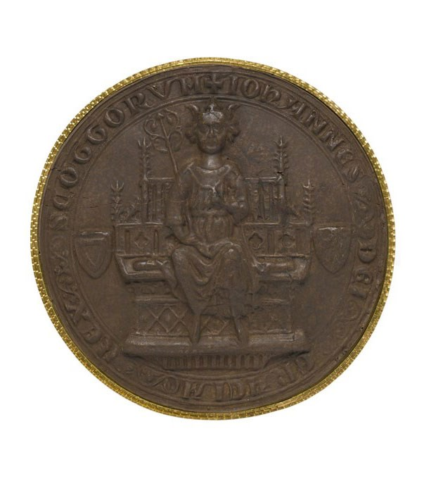 Brown sulphur cast of the observe of the 1st Great Seal of John I (Balliol) who ruled Scotland between 1292 and 1296 under the authority of Edward I of England, depicting the king on his throne. Balliol's rejection of English overlordship sparked Edward's invasion of Scotland in 1296.