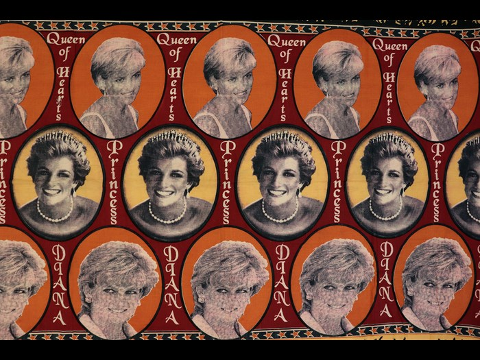 Capulana featuring a repeating pattern of photographic portraits of Princess Diana and the legends 'Queen of Hearts'; 'Princess' and 'Diana': Africa, Southern Africa, Mozambique, 1994-2000.