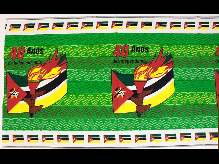 Capulana printed to commemorate 40 years of Mozambican independence: Africa, East Africa, Mozambique, Maputo, 2018.