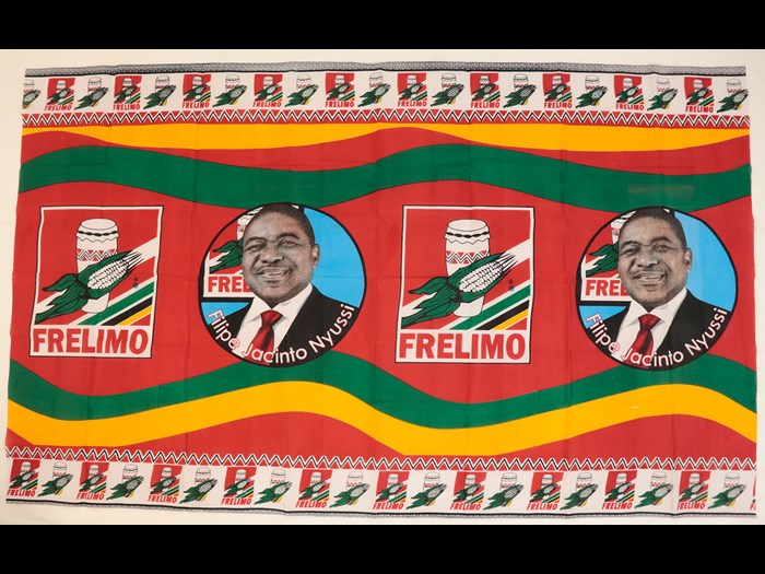 Capulana printed to celebrate Filipe Jacinto Nyussi, fourth FRELIMO president of Mozambique: Africa, East Africa, Mozambique, Maputo, 2018.