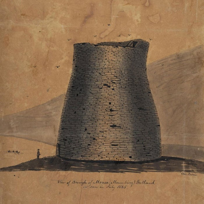 Pen and ink drawing of the broch at Mousa, Shetland, George Petrie July 1865