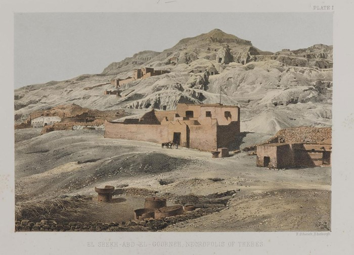 The Tombs of the Nobles and the house where Alexander Henry Rhind stayed during his excavations at Sheikh Abd el-Qurna, Theban West Bank (Luxor), from his book Thebes, Its Tombs and their Tenants, Ancient and Present (1862).