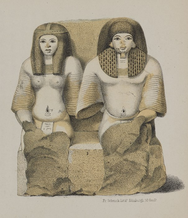 Illustration of the pair statue excavated by A.H. Rhind in the Rhind Tomb at Sheikh Abd el-Qurna, Thebes from his book Thebes, Its Tombs and their Tenants (1862).