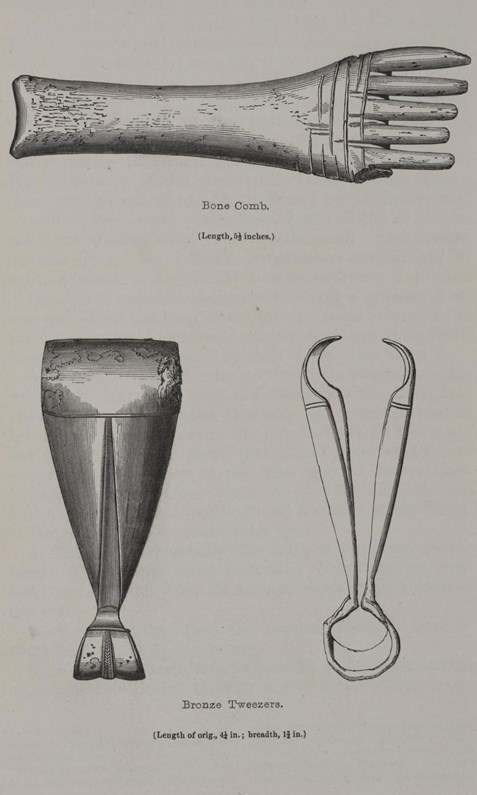 Illustration of a whale-bone weaving comb (X.GI 36) and bronze tweezers (X.GI 75) from Alexander Henry Rhind's 'Notice of the Exploration of a 'Picts' House, at Kettleburn, in the County of Caithness' (1853).