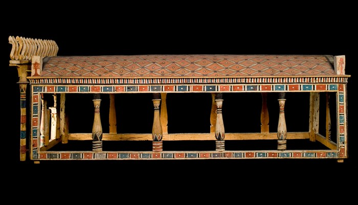 Ancient Egyptian Funerary Canopy of sycomore-fig wood painted in red