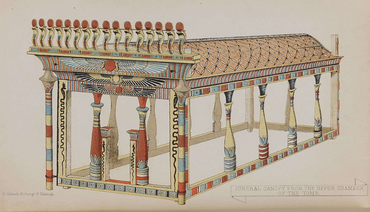 Illustration of a funerary canopy excavated by A.H. Rhind in the Rhind Tomb at Sheikh Abd el-Qurna, Thebes from his book Thebes, Its Tombs and their Tenants (1862).