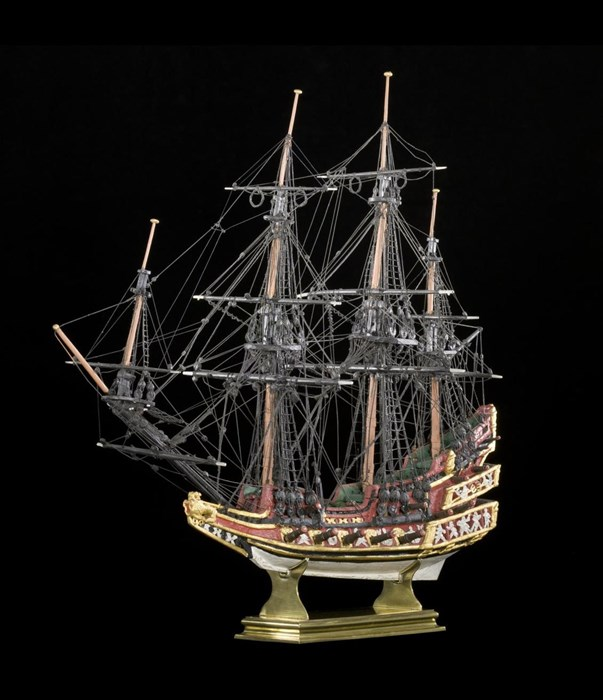 Church-ship model said to have been built in celebration of James and Anna's marriage, and may have hung in a church in South Leith