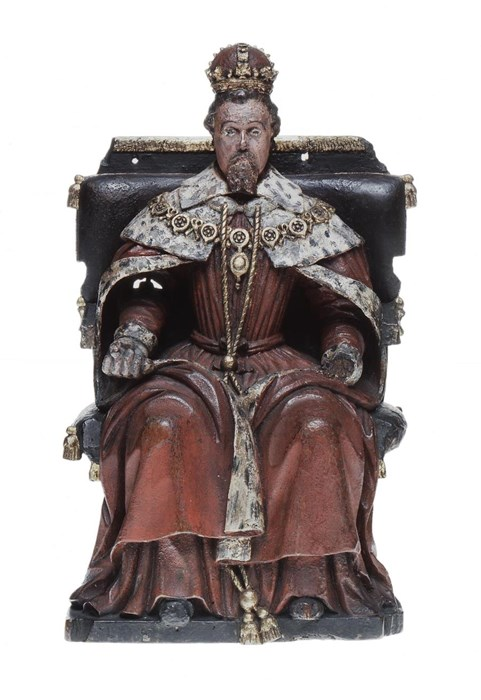 Articulated figure of James VI on the throne. A lever at the back moves his arm which may have once held a sceptre.