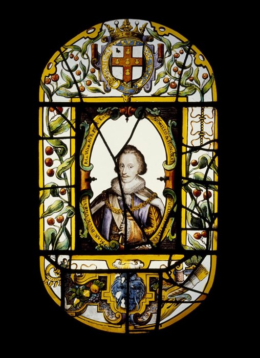 Stained glass panel of the Duke of Buckingham