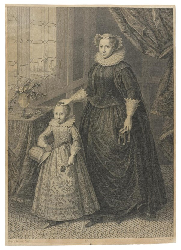 Engraving of Mary Queen of Scotland with her son (later James VI and I), after a painting by F. Zucherri, published 1779.