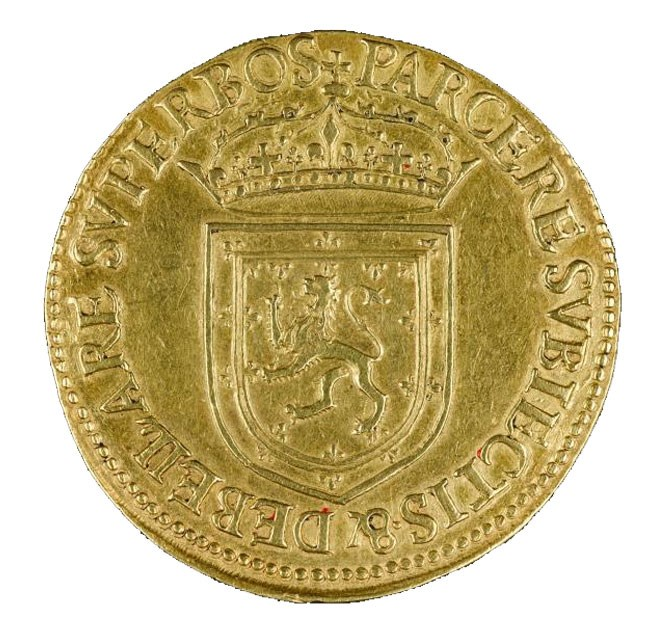 Reverse of ames VI gold 20-pound piece, Edinburgh, 1575.