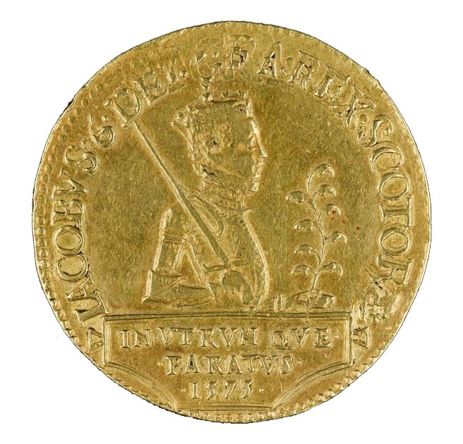 Front of James VI gold 20-pound piece, Edinburgh, 1575.