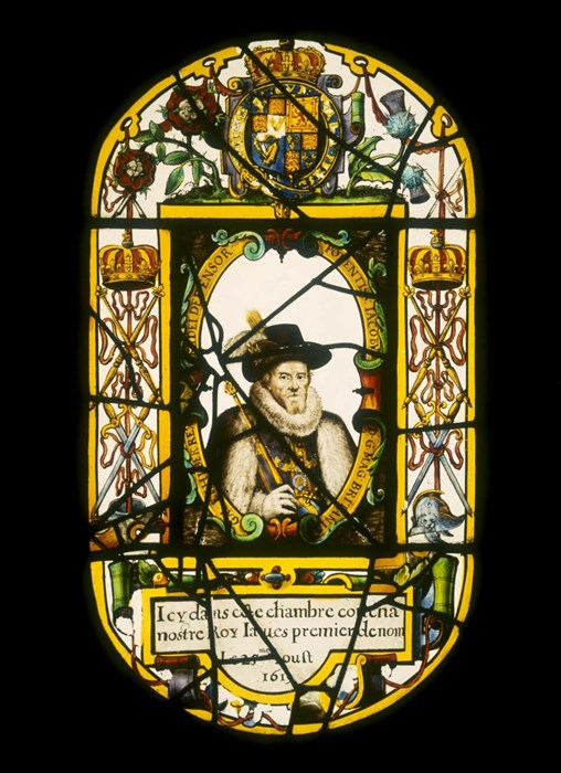 Stained glass panel showing James VI and I