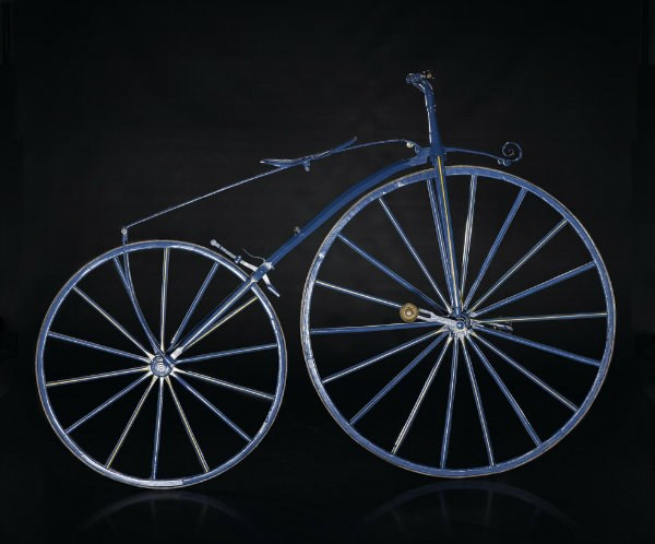 Blue and yellow 'boneshaker' bicycle from Paris, from the Michaux et Cie workshop