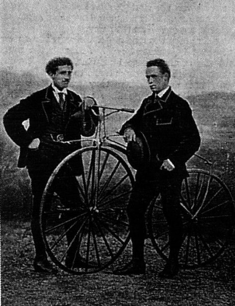 James Moore (right) with fellow cyclist Jean-Eugène-André Castera